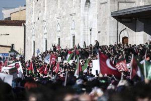 الألاف من الشعب التركي يعبرون عن تضامنهم ودعمهم لمدينة القدس في تظاهرات حاشدة عمت البلاد